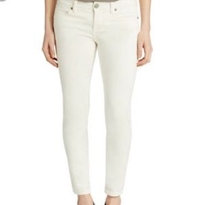 Free People white striped cropped skinny jeans 30